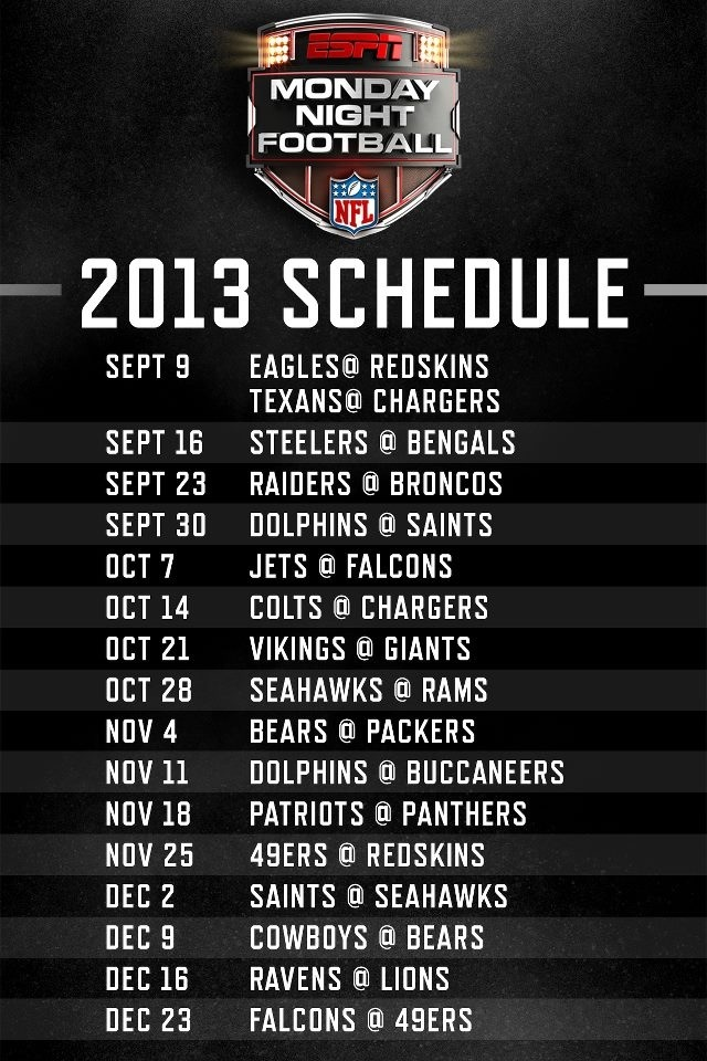 MNF Schedule 2013