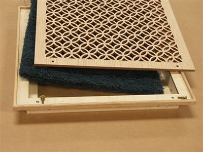 Painted custom pattern vent cover grille with screen installed #DIY