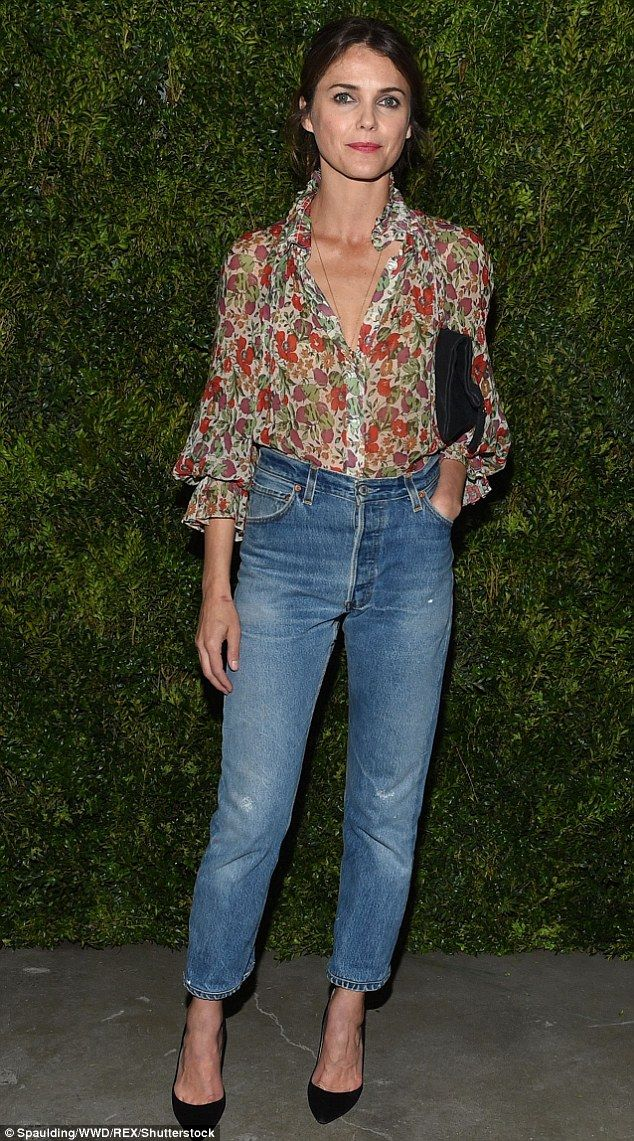 Flower power: Keri Russell, 41, looked elegant and pretty as she attended a dinner launch ...