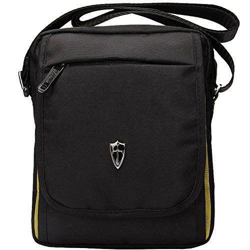 Mens Bag Shoulder Bag Vertical Messenger Bag Lightweight - Black & Yellow #AY