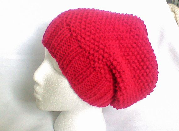 This red beanie hat is my best seller knit item so far. I made them for girls and women any age. Plain, but excellent design slouchy beanie with