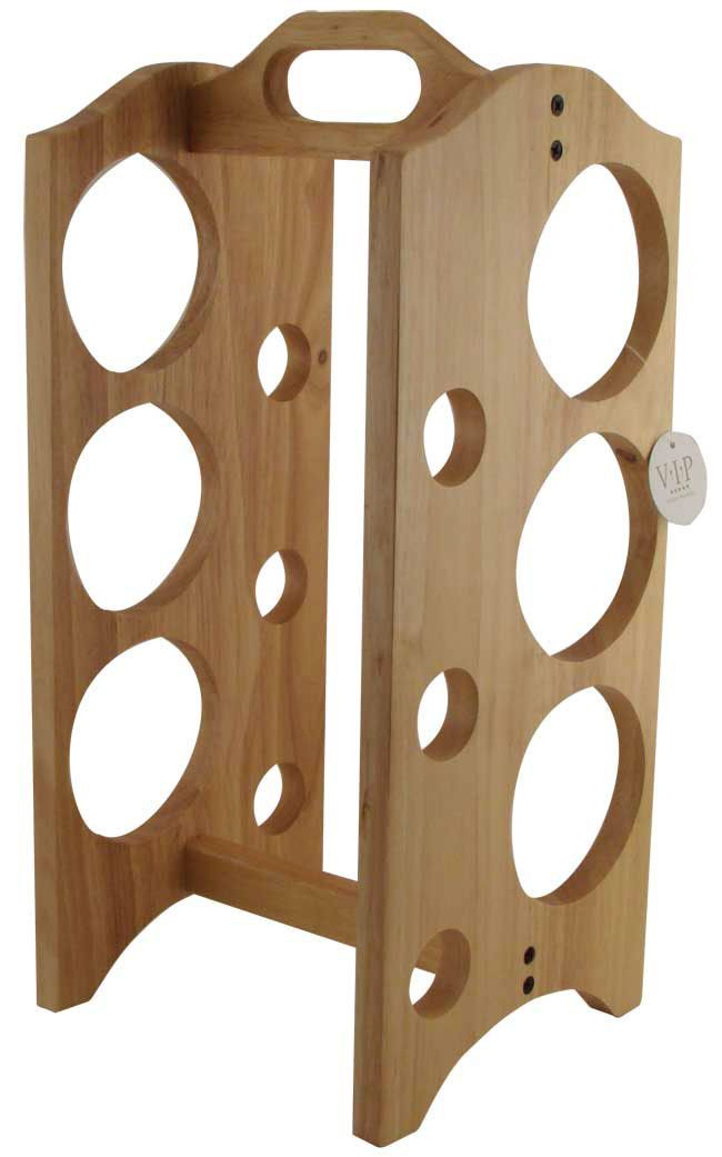 Vertical wine rack for slanted wine bottles. The shape and placement is interesting.