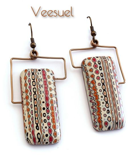 Bouthan - Boucles. Polymer clay earrings by Veesuel.