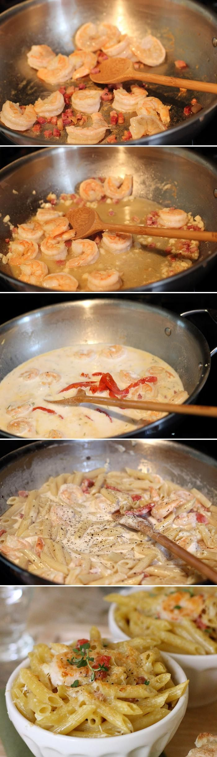 Rustic penne shrimp pasta in a parmesan cream sauce quick What to make with shrimp for dinner