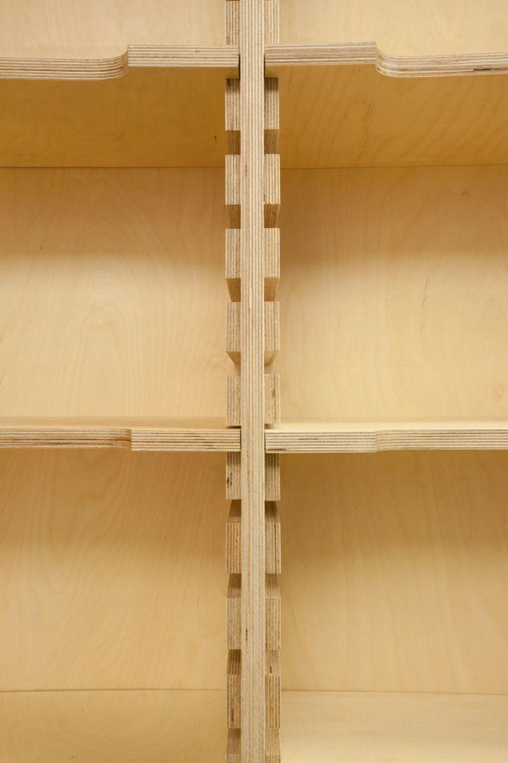 24 Cafe Ato by Design BONO, Seoul. Interesting shelf design. Close-up of cleat.