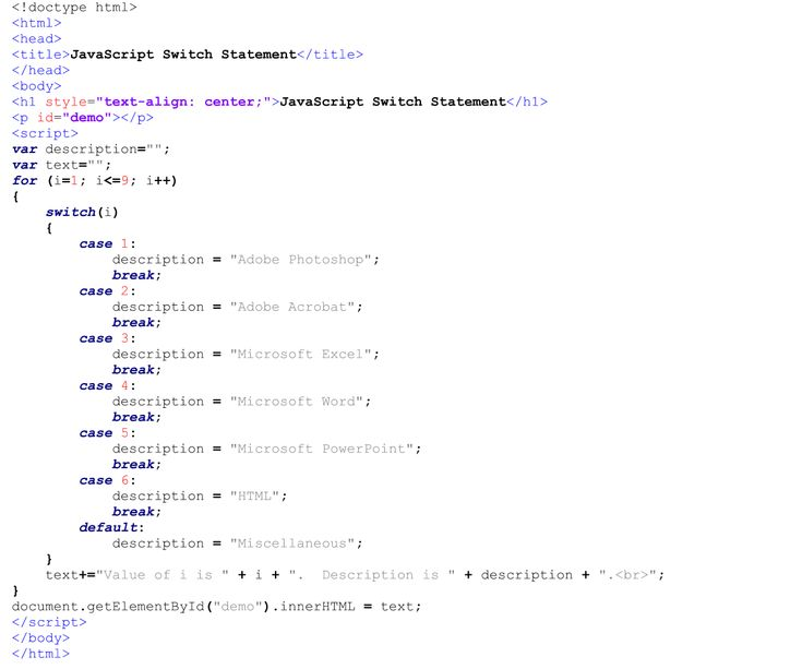 Internal JavaScript Code for the Switch Statement.  Text Editor - Notepad++.