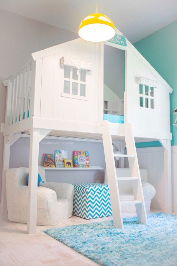 Turquoise blue and white boys room with loft bed house!
