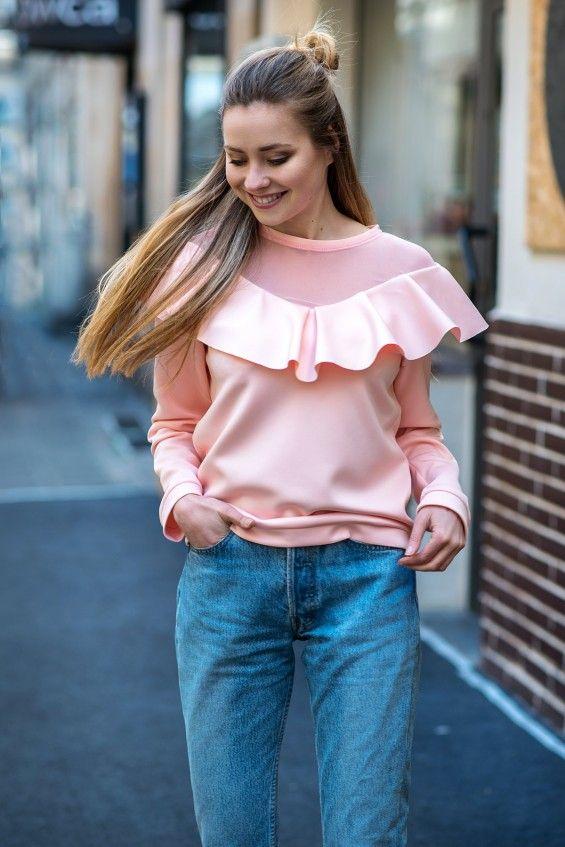 Bluza z falbanką Cranberry Różowa