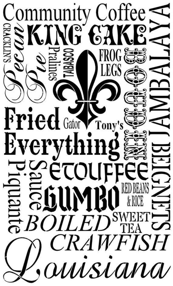 Louisiana Food Subway Art Stencil 12 x 20 by ...