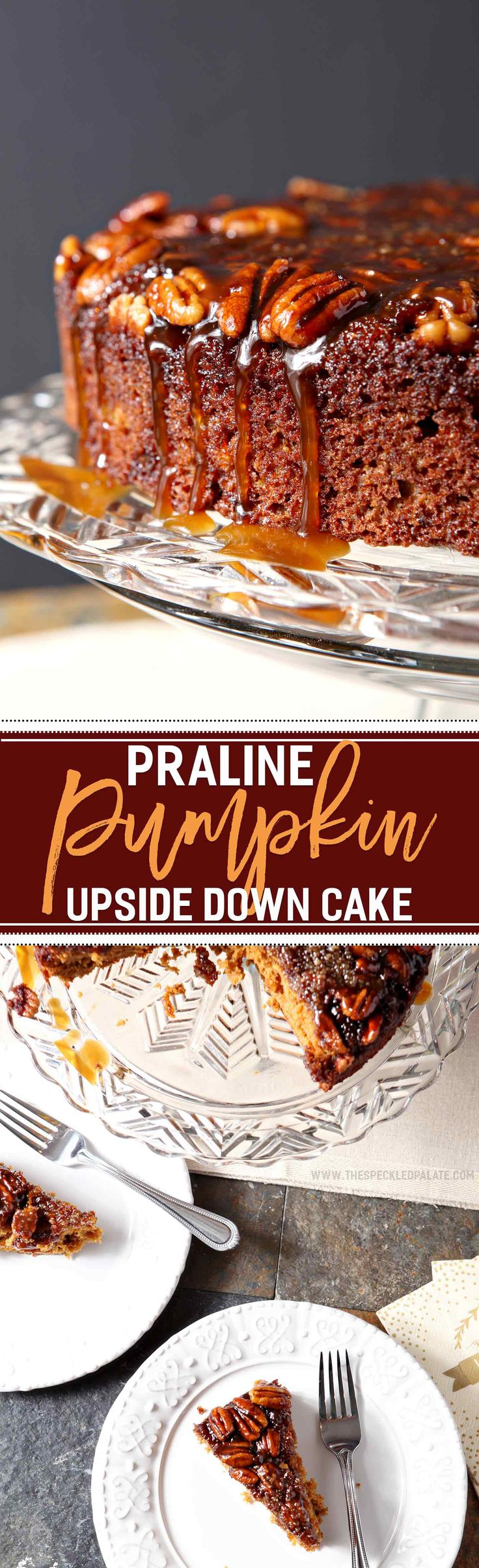 Combine two favorite fall flavors to make the ULTIMATE Thanksgiving dessert: Praline Pumpkin Upside Down Cake! Bourbon pralines create the base/top of this cake, then pecans add decoration. Once the pecans are in place, pour the thick pumpkin cake batter into the cake pan, and bake! Flip after removing from the oven and free from the pan, then drizzle with bourbon caramel sauce for the finishing touch. This cake is decadently moist and perfect!