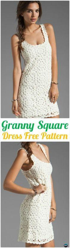 Crochet Joie Elida Overlay Granny Square Dress Free Pattern - Crochet Women Dress Free Patterns