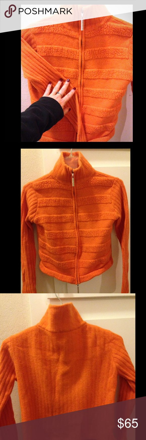 Versace Women's Comfortable Orange ZipUp Sweater M Versace Women's Comfortable & Soft Orange Zip Up Sweater, Size (M) Made in Italy, Very Nice! Versace Sweaters