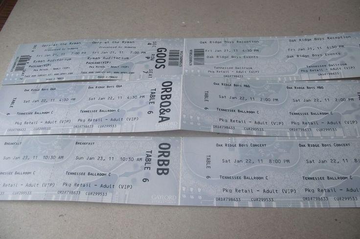 Oak Ridge Boys UNUSED VIP Tickets 2011 Opry At Ryman Tennessee Ballroom Concert