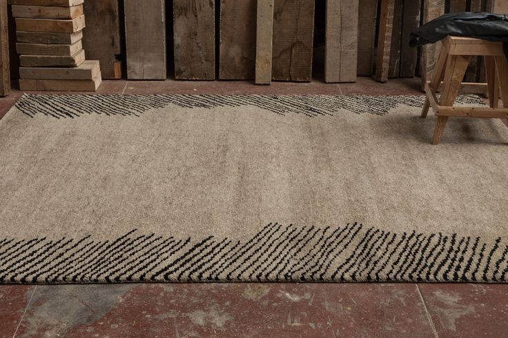 PALMS rug - As drawn in charcoal - #sergelesage - Natural wool