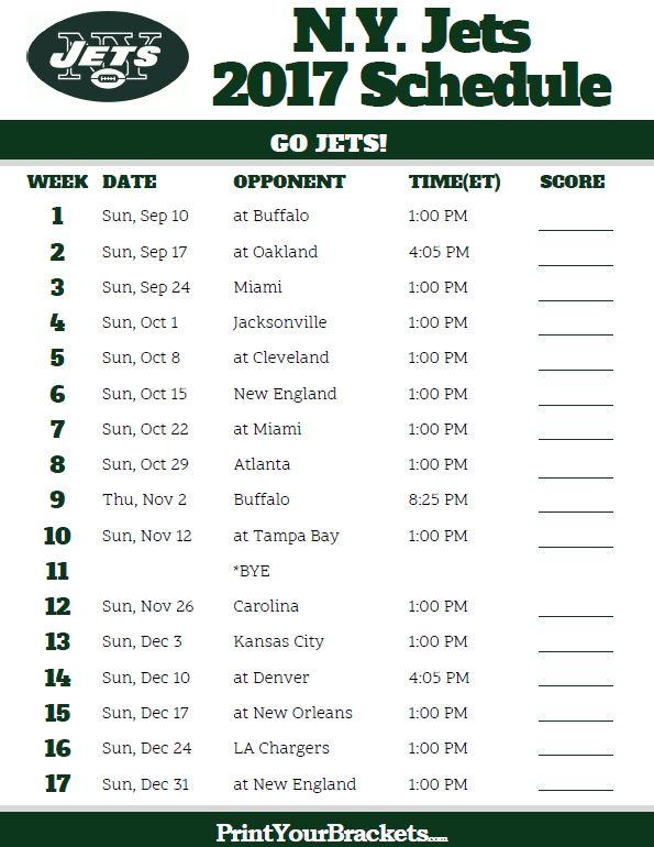 2017 N.Y. Jets Football Schedule