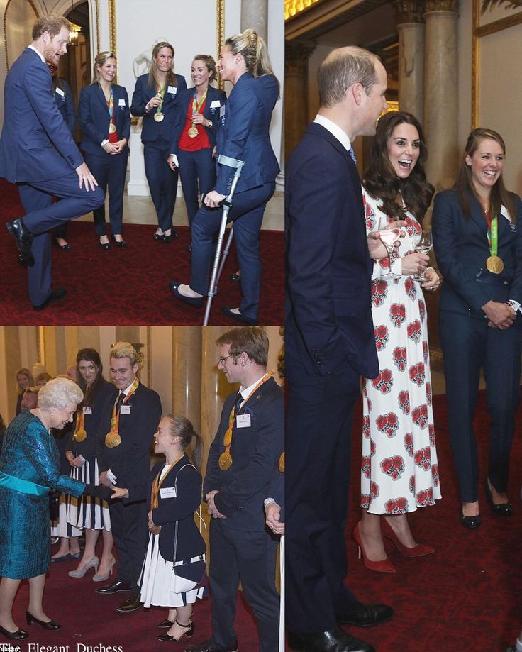 The Royals out in force last night at Buckingham Palace to honour Olympic and Paralympic athletes. Kate dressed in beautiful poppy print dress by @alexandermcqueen.