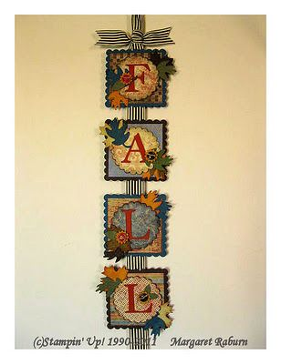 Fall Banner made with dies & punches.  Scallop Square, Scallop Circle, leaves, alphabet