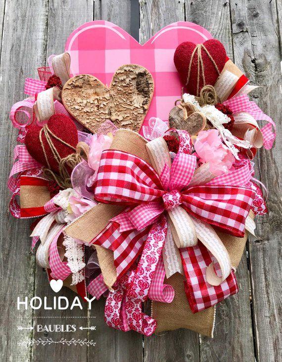 Valentinstag Kranz, rustikale Valentinstag Kranz, Valentinstag Dekor, Liebe Tag, Herz Karo Kranz, Herz Kranz, Valentinstag Dekor   – Wreath Love