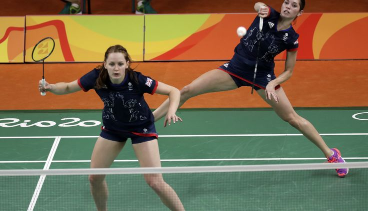 Great Britain's Heather Olver, right, returns a shot with teammate Lauren Smith during a women's doubles badminton match against Malaysia (4146×2388)