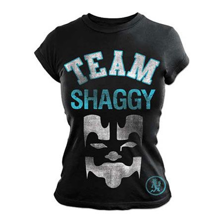 Rep your ICP pride with this Insane Clown Posse Team Shaggy Juniors Tissue T-Shirt Size Small. This product is a soft black junior's tissue tee with mask graphic and Team Shaggy Logo referencing follo