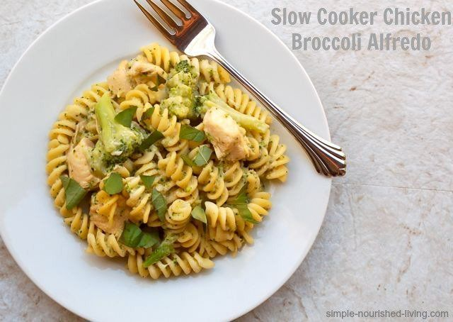 4 Ingredient Slow Cooker Chicken Alfredo with Broccoli