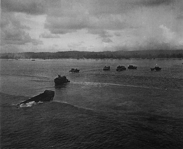 Battle of Saipan. Landing craft headed for the beach.