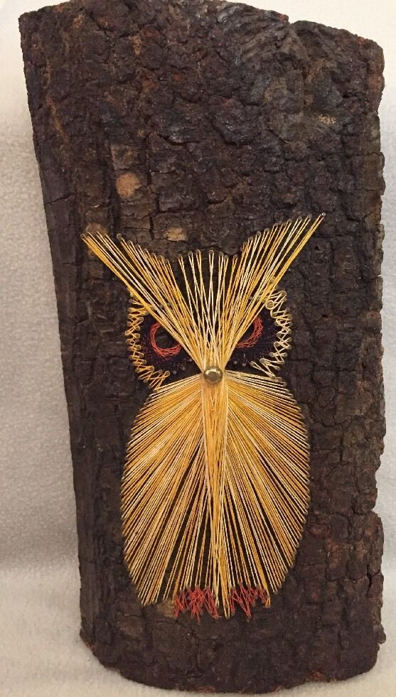 OWL 1970's Mid-Century Retro String Art OWL On Tree Wood Bark