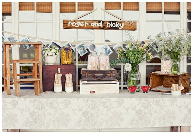 Vintage wedding display table idea, make flag banner with our names?