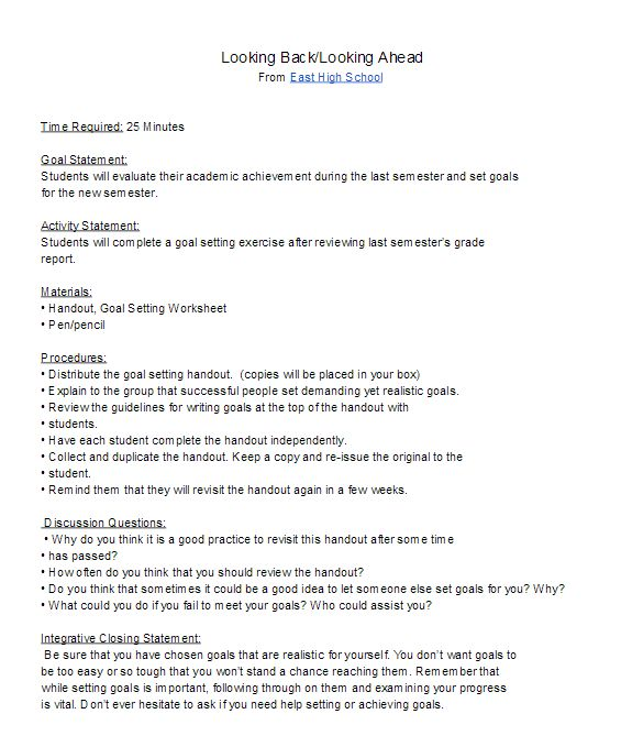 High School Goal Setting Lesson plan for the new semester/ new year.