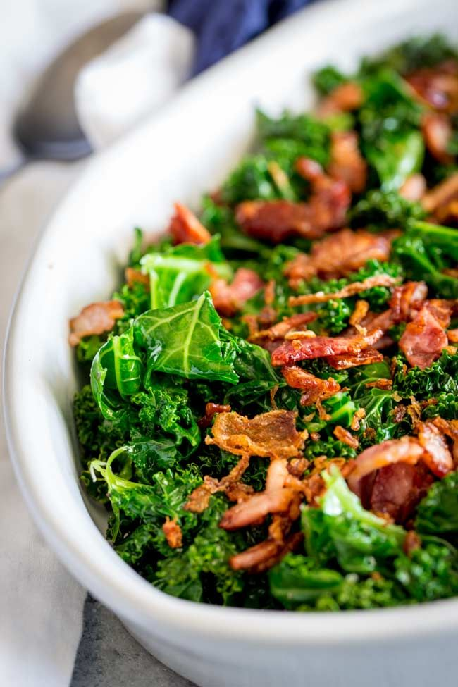 This Kale And Bacon Side Dish Is The Perfect Recipe For The Holidays With All The Carbs And Heavy Sides On T How To Cook Kale Bacon Side Dishes Kale Side