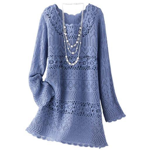 Elegant Blue Top free knit graph pattern