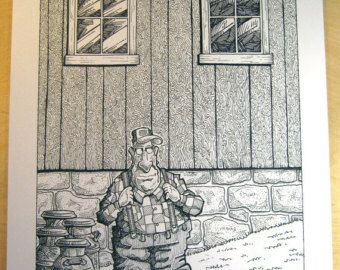 """Original Art  - """"Walter: Portrait With Milk Cans"""" - Large Finished Ink Drawing and color print"""