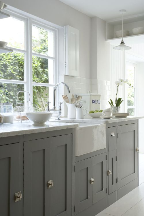 Kitchen units in Lead Colour, walls in China Clay and floor in Linen Wash