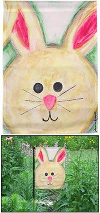 """Happy Bunny Garden Flag at The Animal Rescue Site A watercolor hare grins in warm welcome on this original artwork garden flag. The processing and permanent dyes are designed to create a long-lasting addition to your yard and garden.  Nylon Weather proof Fade & mildew resistant Flag: 18"""" H x 12.5"""" W  Flag Stand: 36"""" H  Imported"""