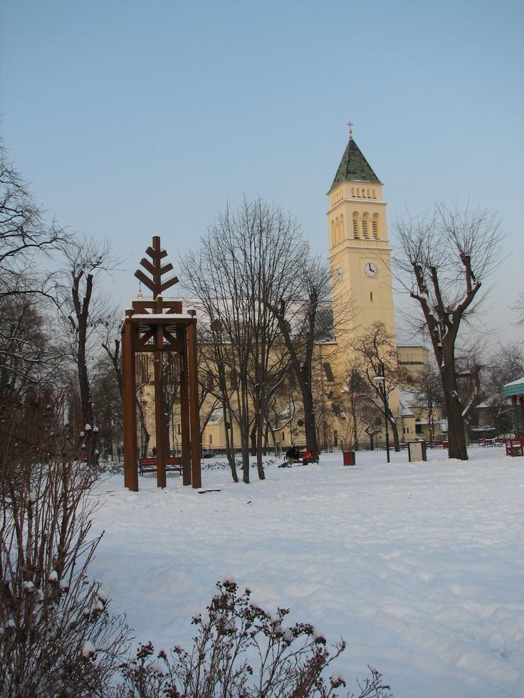 Wekerle | St. Joseph Roman Catholic church, Kós Károly tér (Square). http://budapestpocketguide.com/budapest-yours-to-discover/wekerle-estate-centennial-year-1908.html #Budapest