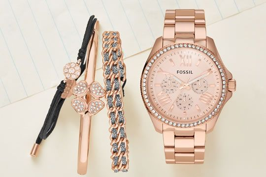 Women's Rose Gold Watch and stackables.....can I have this whole set please :)