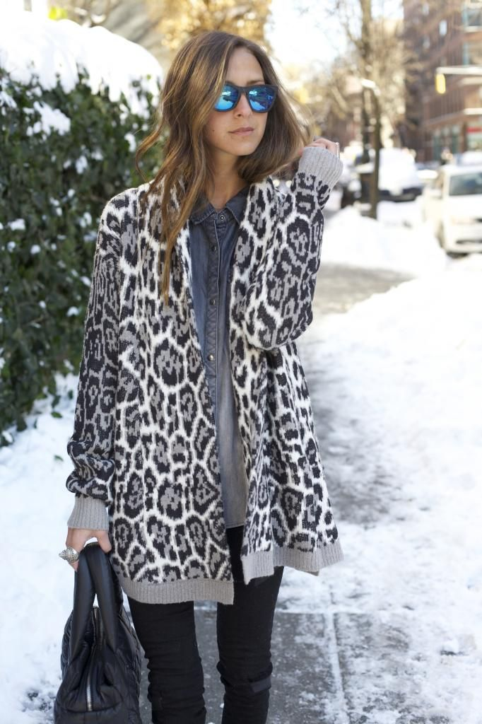 Leopard print Cardigan over chambray