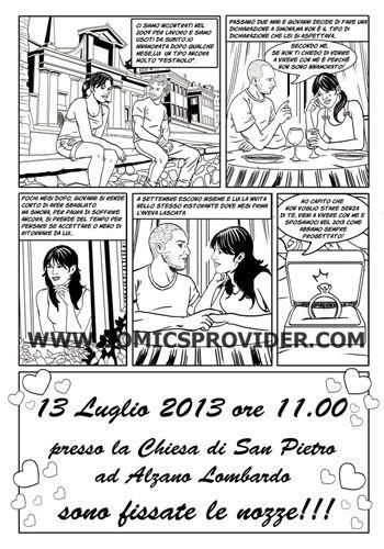 Partecipazione Nozze con fumetto che racconta la vostra storia d'amore