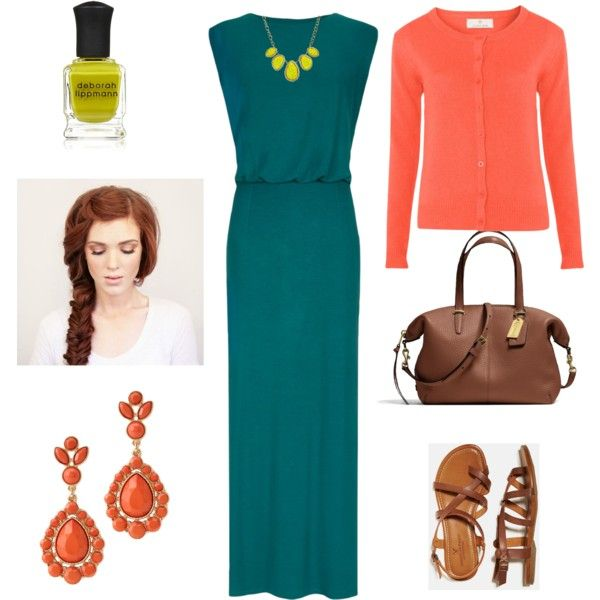 teal maxi dress with peach and chartreuse accents