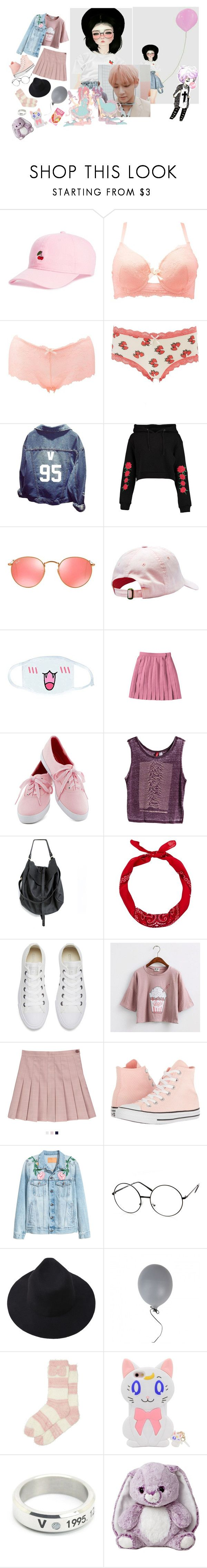 """""""- Peachy Girl -"""" by xxxaskingalexandriaxxx ❤ liked on Polyvore featuring Body Rags, Charlotte Russe, Boohoo, Ray-Ban, Levi's, New Look, Converse, GET LOST, Aurora World and plus size clothing"""
