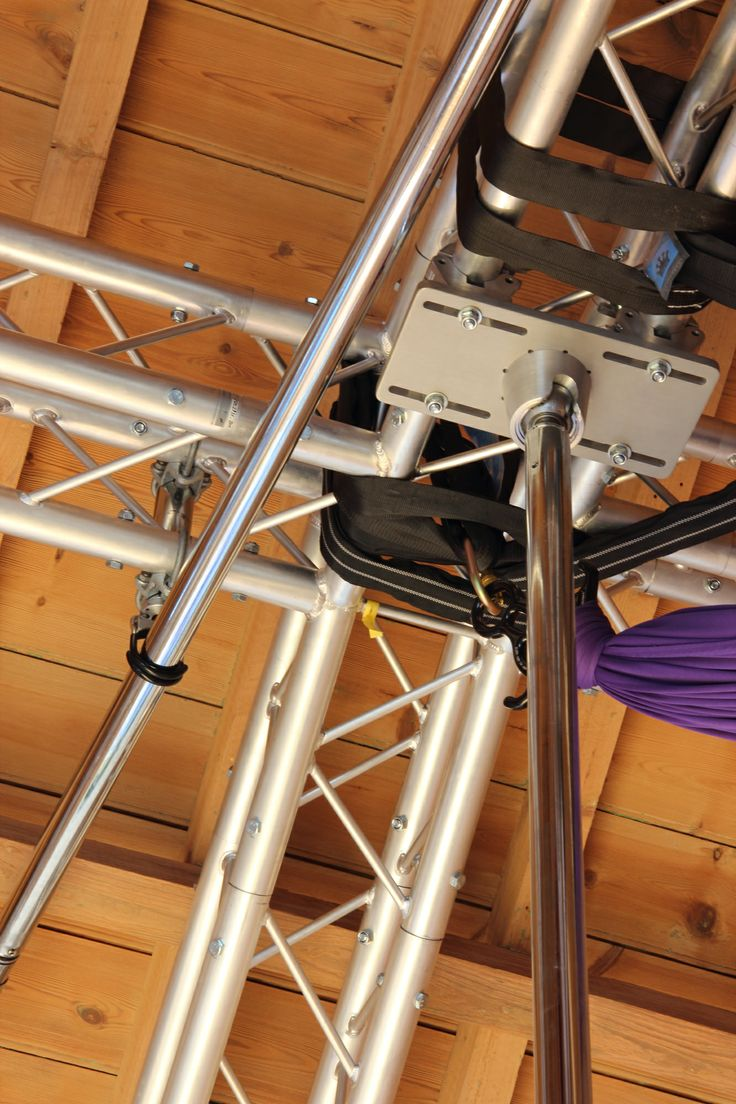 """The #xpole """"Pole Away"""" system. Pole 1 vertical on a vaulted ball mount and pole 2 held within the Pole Away receiving unit stored at ceiling height. https://www.youtube.com/watch?v=HPSZhRsHMao"""