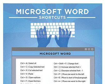 "Microsoft Word Keyboard Shortcut PC Printable Poster 8.5""x11"""