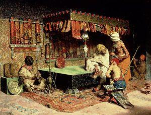 Orientalist Painting - The Slipper Merchant by Jose Villegas Cordero