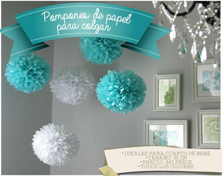 Pompones de papel para colgar tissue paper pompons for Adornos colgar pared