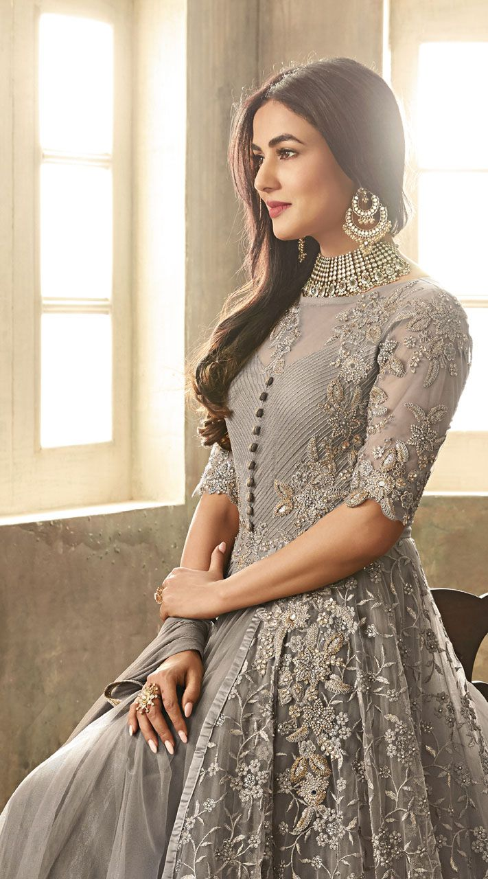 4afd7ba8a4 This #Grey High Netted #Anarkali #Suit has Thread Sequins and #Stone Work  #Embroidery. It has #Net #Top and #Santoon #Bottom with #Nazneen #Dupatta  worn by ...