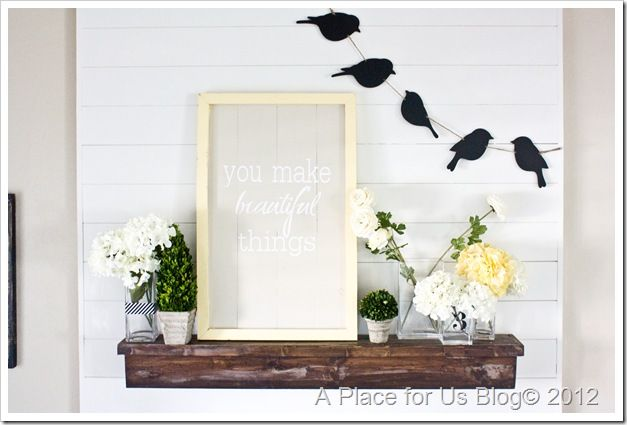 """a spring mantel.  """"a place for us"""" blog has such fresh ideas!"""