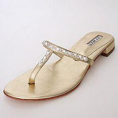 Lily Holt New York gold flat hand-beaded sandals. (=)