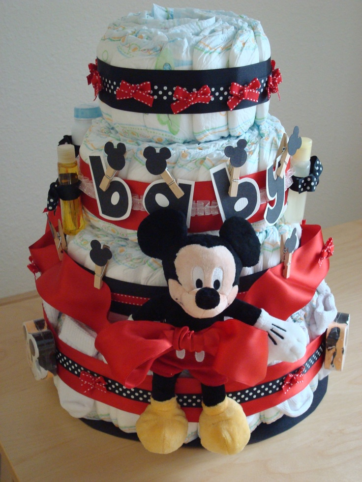 mickey mouse diaper cake by me baby shower minnie. Black Bedroom Furniture Sets. Home Design Ideas