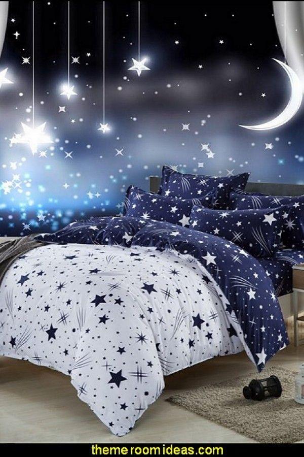 Moon And Stars Bedroom Decor In 2020 Galaxy Bedroom Moon Stars Bedroom Space Themed Bedroom