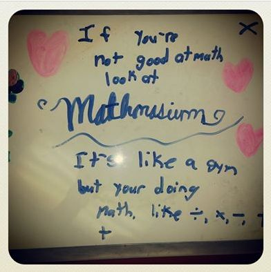 Stop by #Mathnasium and flex your #math muscles! Love this whiteboard art.